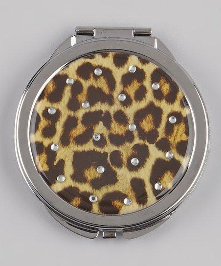 Tan & Black Rhinestone Snow Leopard Compact Mirror