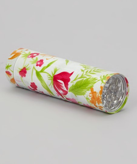 White & Pink Floral LED Flashlight
