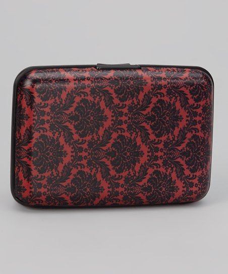 Red & Black Damask Armored Wallet