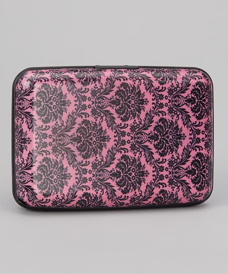 Pink & Black Damask Armored Wallet
