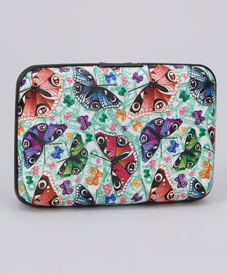 Aqua & Multicolor Butterfly Armored Wallet