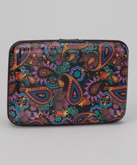 Black & Orange Paisley Armored Wallet