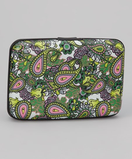 Green & White Paisley Armored Wallet