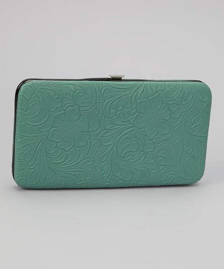 Teal Tooled Armored Clutch