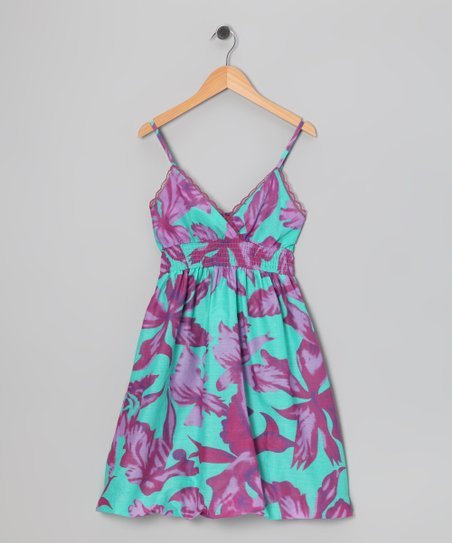 Purple Tropical Bubble Dress - Girls