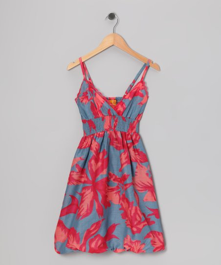 Red Tropical Bubble Dress - Girls