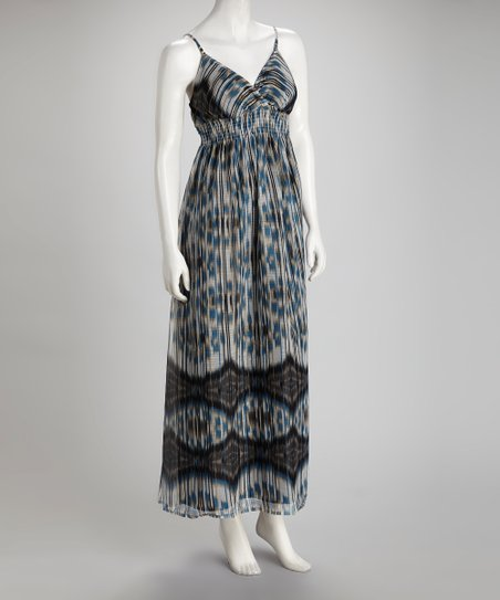 Gray Ikat Chiffon Maxi Dress