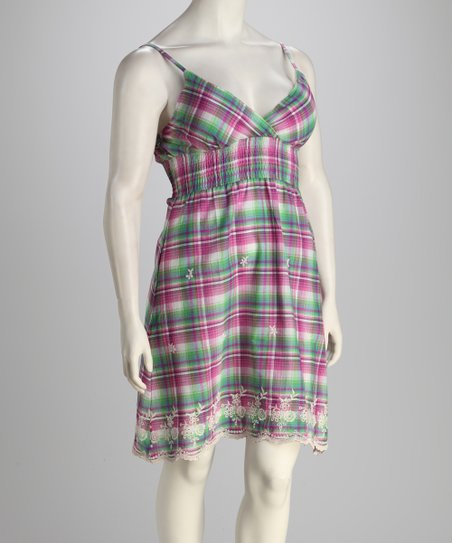 Fuchsia Plaid Plus-Size Dress