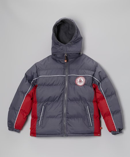 Gray & Red Bubble Jacket - Boys