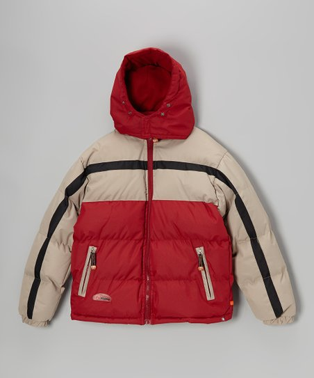 Red & Beige Bubble Jacket - Boys
