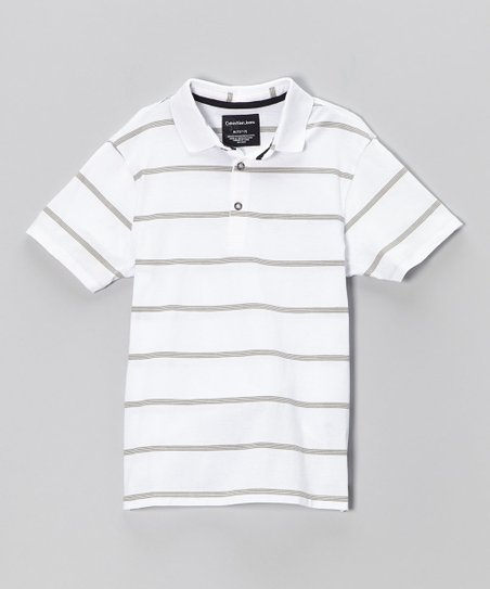 White & Gray Stripe Polo - Infant & Boys