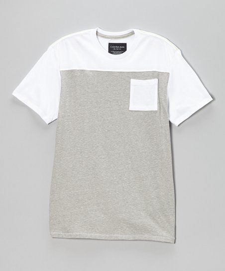 White & Gray Pocket Tee - Toddler & Boys