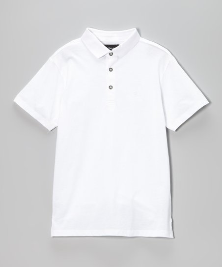 White Solid Jersey Polo - Boys