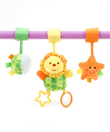 Stroller Activity Clip & Lion Ring o' Lings 7.5'' Rattle Set