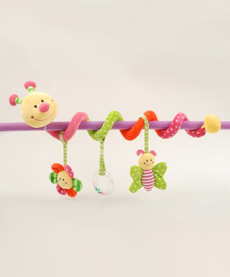 Pink Caterpillar Stroller & Crib Activity Toy