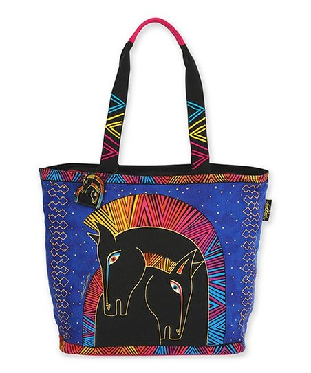 Blue & Pink Embracing Horses Tote