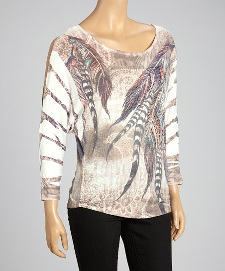 Mocha Peacock Sublimation Dolman Top