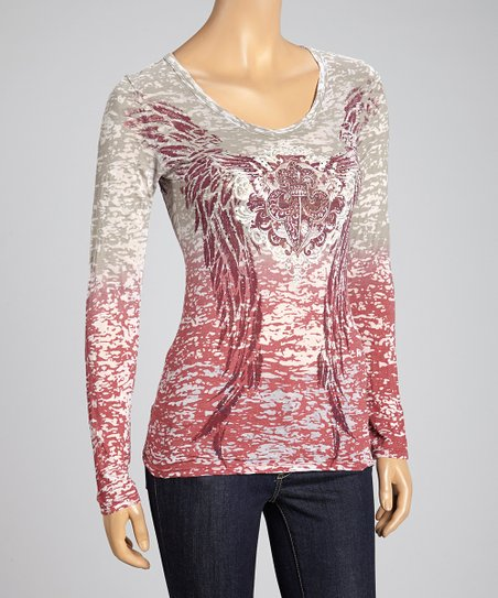 Gray & Cherry Fleur-de-Lis Burnout Top