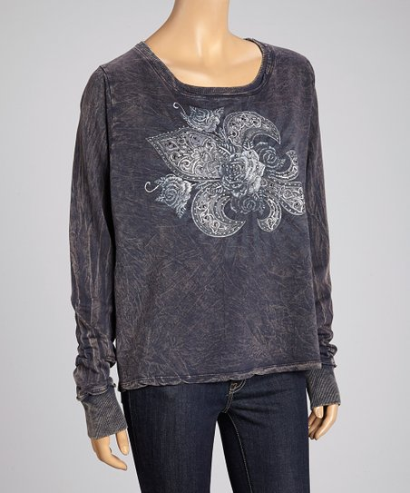 Navy French Terry Fleur-de-Lis Top