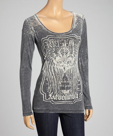 Charcoal Burnout 'Free Love' Top