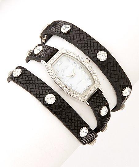 Black & Silver Rhinestone Wrap Watch