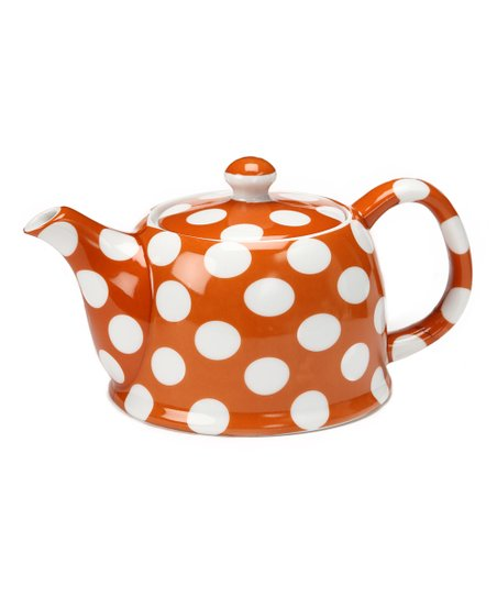 Yedi Houseware Pumpkin Orange Polka Dot Teapot