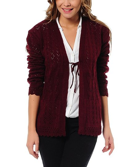 Burgundy Crochet Knit Tie Cardigan