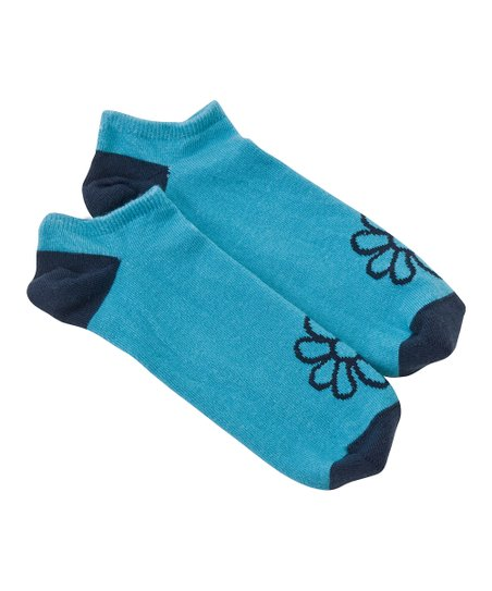 Aqua Daisy No-Show Socks - Women