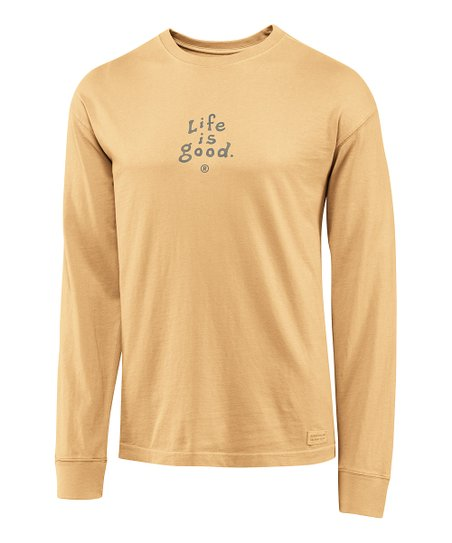 Classic Gold 'Life Is Good' Crusher Long-Sleeve Tee - Men
