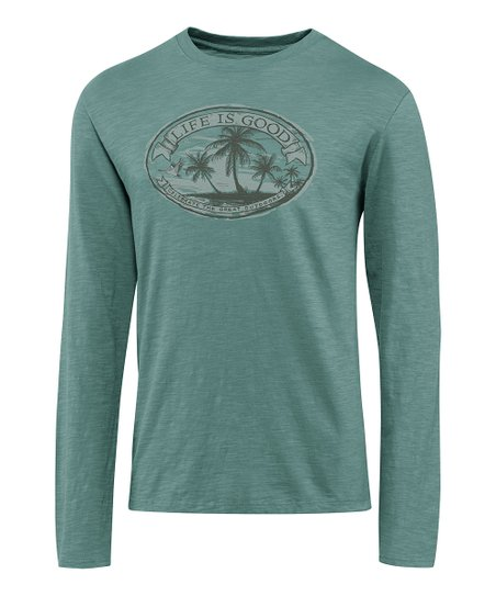 Pine Green Palm Tree Folklore Organic Long-Sleeve Tee - Men