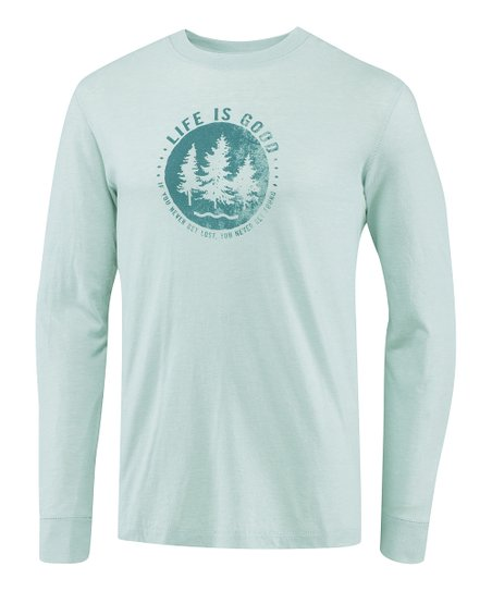 Foggy Blue Trees Slow Fade Long-Sleeve Tee - Men