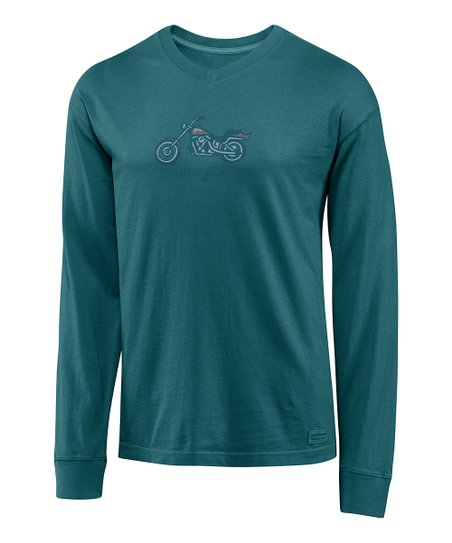 Spring Green Vee Motorcycle Crusher Long-Sleeve Tee - Men