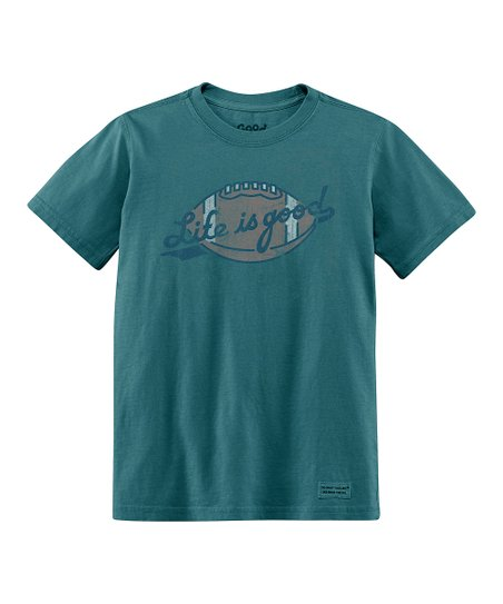 Spruce Green Football Short-Sleeve Crusher Tee - Boys
