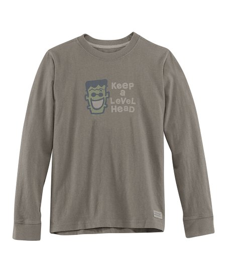 Gray 'Keep a Level Head' Long-Sleeve Crusher Tee - Boys
