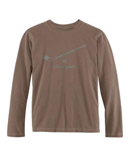 Dark Brown Hockey Long-Sleeve Creamy Tee - Boys