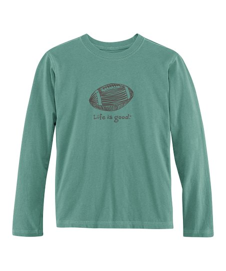 Pine Green Football Long-Sleeve Creamy Tee - Toddler & Boys