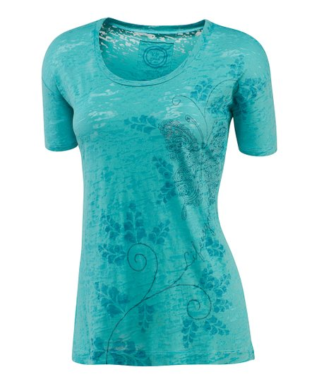 Teal Graceful Butterfly Topnotch Tee - Women