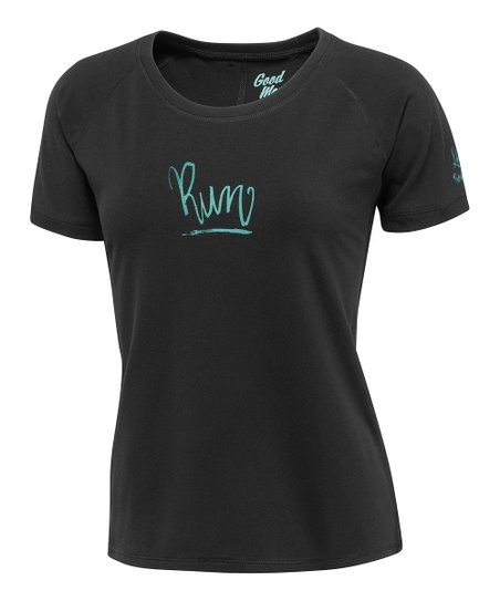 Black 'Run' Scoop Neck Tee - Women
