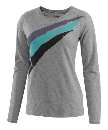 Heather Gray Boost Stripe Momentum Tee - Women
