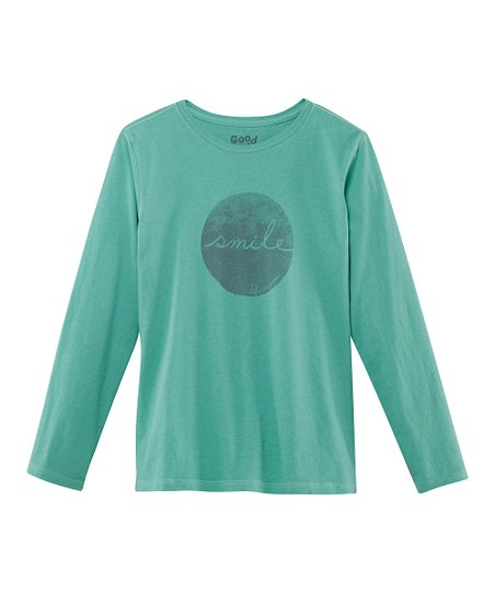 Teal 'Smile' Long-Sleeve Creamy Tee - Girls