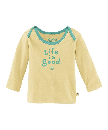Yellow 'Life Is Good' Lap Neck Tee - Infant