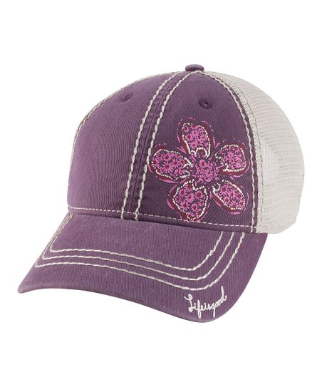 Plum Enchanted Daisy Slouch Baseball Hat - Women