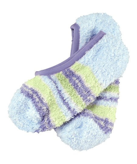 Pale Sky Blue Stripe Snuggle Footsies Socks - Women