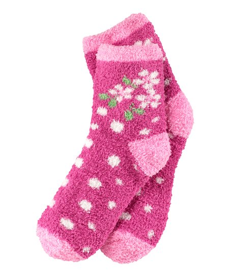 Magenta Flower Snuggle Socks - Women