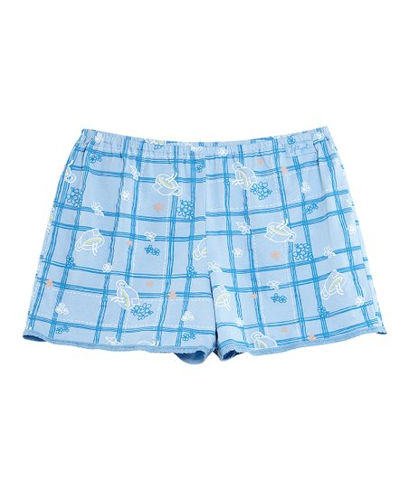 Sky Teacup Plaid Boxers - Women