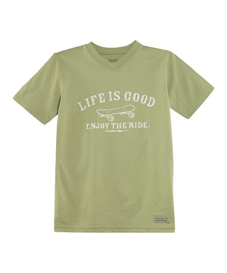 Palm Green 'Enjoy The Ride' V-Neck Crusher Tee - Boys