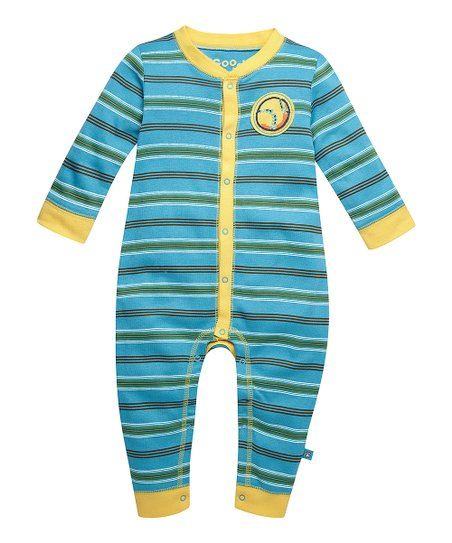 Summer Turquoise Baseball Stripe Playsuit - Infant