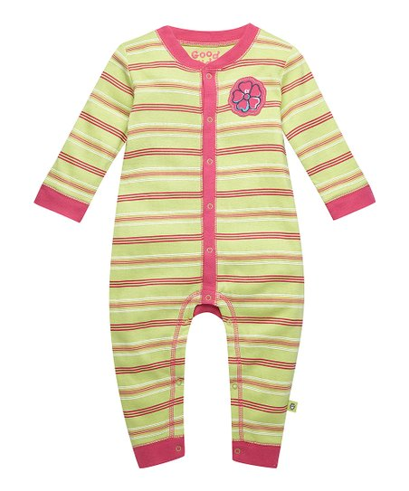 Citron Green Hibiscus Stripe Playsuit - Infant