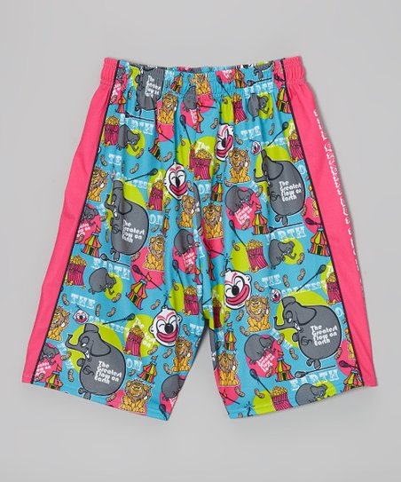 Blue & Pink Circus Shorts - Kids