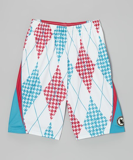 Red, White & Blue Houndstooth Argyle Lacrosse Shorts - Kids